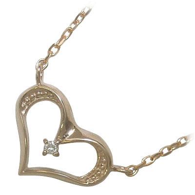 ( 4月誕生石 ) K18ピンクゴールドダイヤモンドペンダントネックレス(ハートモチーフ)【DEAL】