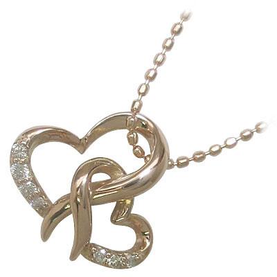 ( 4月誕生石 ) K18ピンクゴールドダイヤモンドペンダントネックレス(ハートモチーフ) 【DEAL】