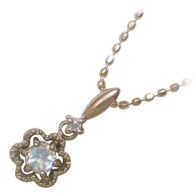 ( 6月誕生石 ) K18ピンクゴールドブルームーンストーン・ダイヤモンドペンダントネックレス 【DEAL】