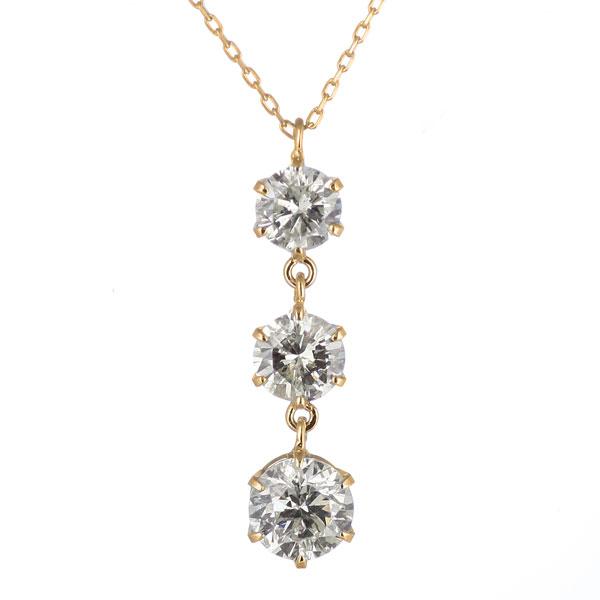 ダイヤモンドネックレス ダイヤモンドネックレススリーストーン ネックレスレディース ダイヤモンドネックレスゴールド ダイヤモンドネックレス人気 ネックレス送料無料
