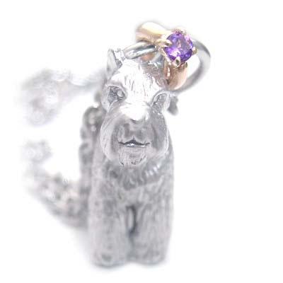 ( 2月誕生石 ) シルバー K10アメジストペンダントネックレス(ミニチュアシュナウザー) 犬