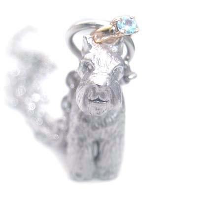 ( 3月誕生石 ) シルバー K10アクアマリンペンダントネックレス(ミニチュアシュナウザー) 犬