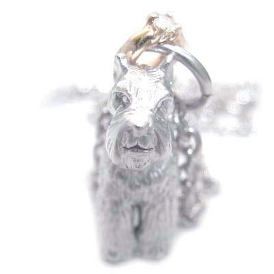 ( 4月誕生石 ) シルバー K10ダイヤモンドペンダントネックレス(ミニチュアシュナウザー) 犬 【DEAL】