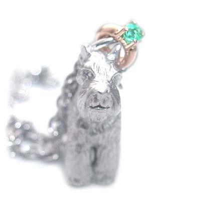 ( 5月誕生石 ) シルバー K10エメラルドペンダントネックレス(ミニチュアシュナウザー) 犬