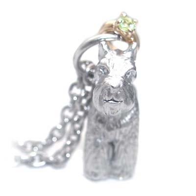 ( 8月誕生石 ) シルバー K10ペリドットペンダントネックレス(ミニチュアシュナウザー) 犬