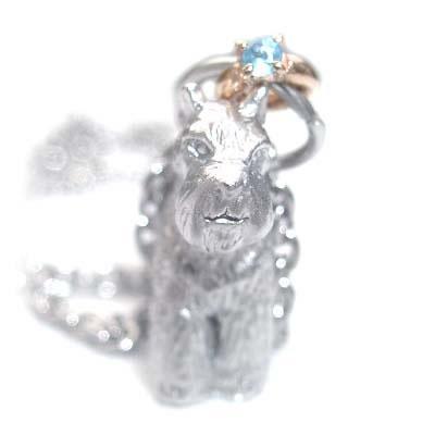 ( 11月誕生石 ) シルバー K10ブルートパーズペンダントネックレス(ミニチュアシュナウザー) 犬