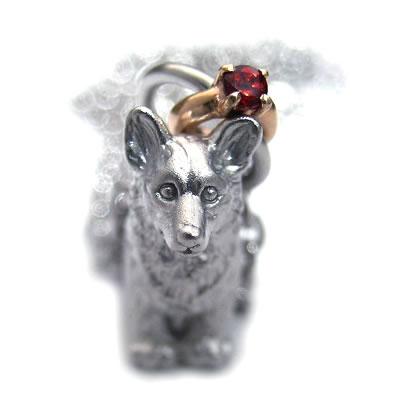 ( 1月誕生石 ) シルバー K10ガーネットペンダントネックレス(ウェルシュ・コーギー) 犬 末広 スーパーSALE