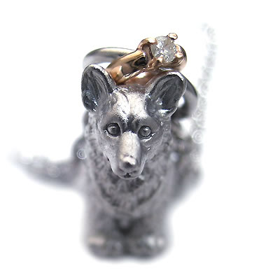( 4月誕生石 ) シルバー K10ダイヤモンドペンダントネックレス(ウェルシュ・コーギー) 犬