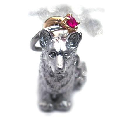 ( 7月誕生石 ) シルバー K10ルビーペンダントネックレス(ウェルシュ・コーギー) 犬 【DEAL】