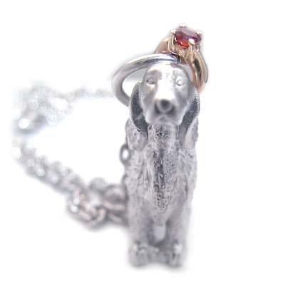 ( 1月誕生石 ) シルバー K10ガーネットペンダントネックレス(アイリッシュ・セッター) 犬