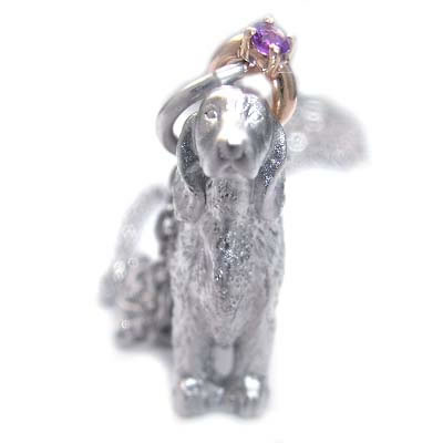 ( 2月誕生石 ) シルバー K10アメジストペンダントネックレス(アイリッシュ・セッター) 犬