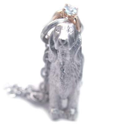 ( 3月誕生石 ) シルバー K10アクアマリンペンダントネックレス(アイリッシュ・セッター) 犬