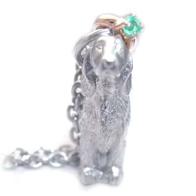 ( 5月誕生石 ) シルバー K10エメラルドペンダントネックレス(アイリッシュ・セッター) 犬