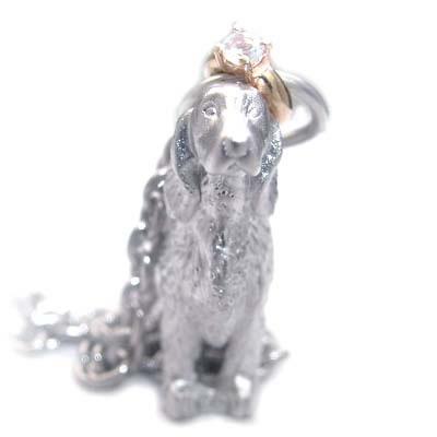 ( 6月誕生石 ) シルバー K10ムーンストーンペンダントネックレス(アイリッシュ・セッター) 犬