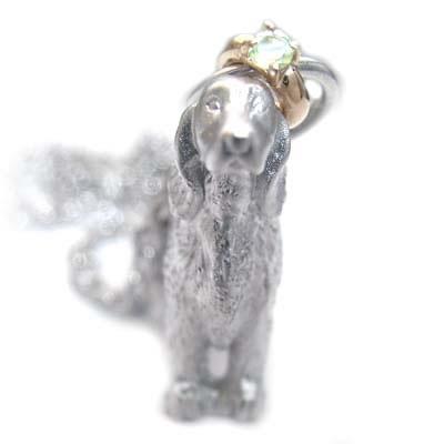 ( 8月誕生石 ) プラチナ K10ペリドットペンダントネックレス(アイリッシュ・セッター) 犬 末広 スーパーSALE