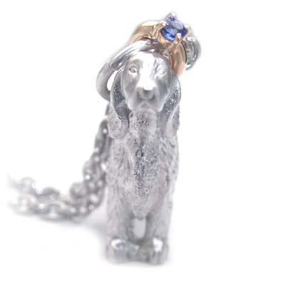 ( 9月誕生石 ) シルバー K10サファイアペンダントネックレス(アイリッシュ・セッター) 犬