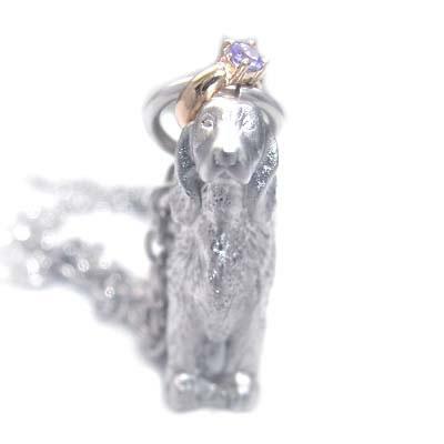 ( 12月誕生石 ) プラチナ K10タンザナイトペンダントネックレス(アイリッシュ・セッター) 犬 末広 スーパーSALE