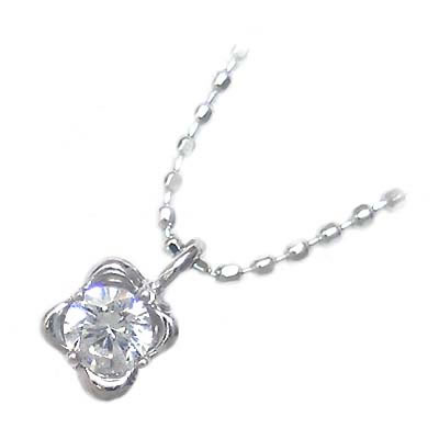 ( 4月誕生石 ) K18ホワイトゴールド ダイヤモンドペンダントネックレス