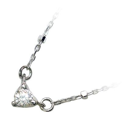 ハート K10ホワイトゴールド ダイヤモンドネックレス(ハートモチーフ)