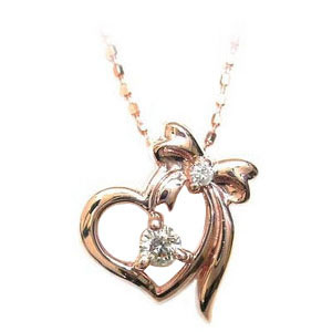 ネックレス メンズ ( 4月誕生石 ) K10ピンクゴールド ダイヤモンドペンダントネックレス