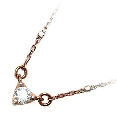 ハート K10ピンクゴールド ダイヤモンドネックレス(ハートモチーフ)