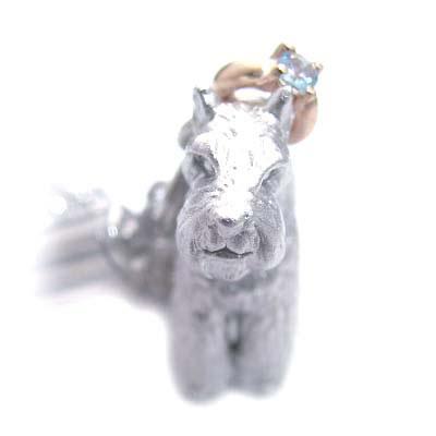 アクアマリン ( 3月誕生石 ) シルバー K10アクアマリン入り携帯ストラップ(ミニチュアシュナウザー) 犬 末広 スーパーSALE