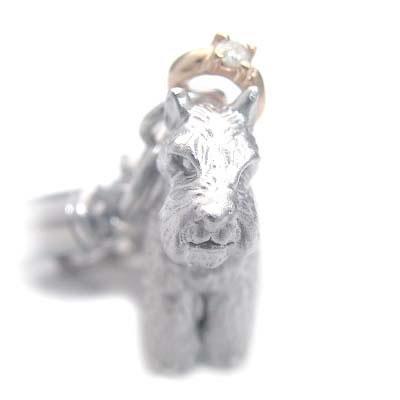 ( 4月誕生石 ) シルバー K10ダイヤモンド入り携帯ストラップ(ミニチュアシュナウザー) 犬