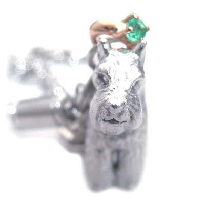 エメラルド ( 5月誕生石 ) シルバー K10エメラルド入り携帯ストラップ(ミニチュアシュナウザー) 犬