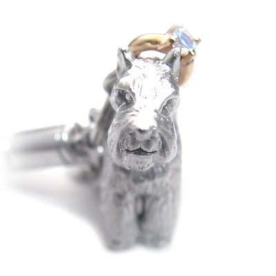 ムーンストーン ( 6月誕生石 ) シルバー K10ムーンストーン入り携帯ストラップ(ミニチュアシュナウザー) 犬