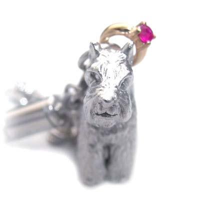 ルビー チャーム( 7月誕生石 ) シルバー K10ルビー入り携帯ストラップ(ミニチュアシュナウザー) 犬