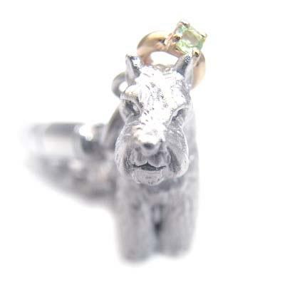 ペリドット ( 8月誕生石 ) シルバー K10ペリドット入り携帯ストラップ(ミニチュアシュナウザー) 犬 末広 スーパーSALE