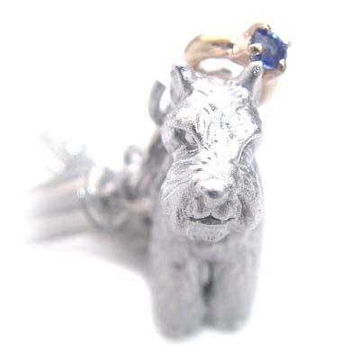 サファイア ( 9月誕生石 ) シルバー K10サファイア入り携帯ストラップ(ミニチュアシュナウザー) 犬 末広 スーパーSALE
