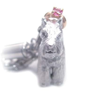 ピンクトルマリン ( 10月誕生石 ) シルバー K10ピンクトルマリン入り携帯ストラップ(ミニチュアシュナウザー) 犬