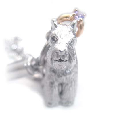 タンザナイト ( 12月誕生石 ) シルバー K10タンザナイト入り携帯ストラップ(ミニチュアシュナウザー) 犬