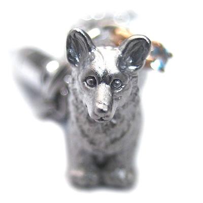 アクアマリン ( 3月誕生石 ) シルバー K10アクアマリン入り携帯ストラップ(ウェルシュ・コーギー) 犬
