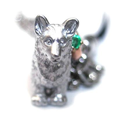 エメラルド ( 5月誕生石 ) シルバー K10エメラルド入り携帯ストラップ(ウェルシュ・コーギー) 犬