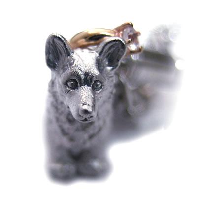 ムーンストーン ( 6月誕生石 ) シルバー K10ムーンストーン入り携帯ストラップ(ウェルシュ・コーギー) 犬 末広 スーパーSALE