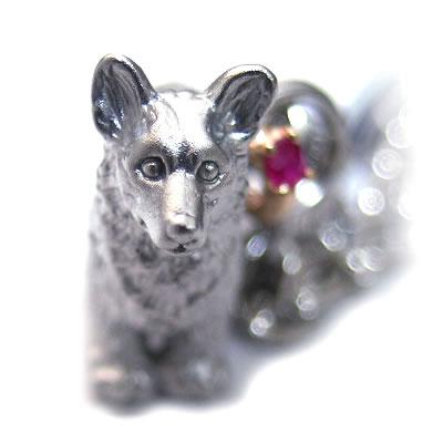 ルビー チャーム( 7月誕生石 ) シルバー K10ルビー入り携帯ストラップ(ウェルシュ・コーギー) 犬