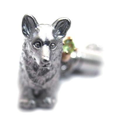 ペリドット ( 8月誕生石 ) シルバー K10ペリドット入り携帯ストラップ(ウェルシュ・コーギー) 犬