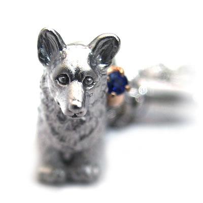 サファイア ( 9月誕生石 ) シルバー K10サファイア入り携帯ストラップ(ウェルシュ・コーギー) 犬