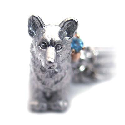 ブルートパーズ ( 11月誕生石 ) シルバー K10ブルートパーズ入り携帯ストラップ(ウェルシュ・コーギー) 犬