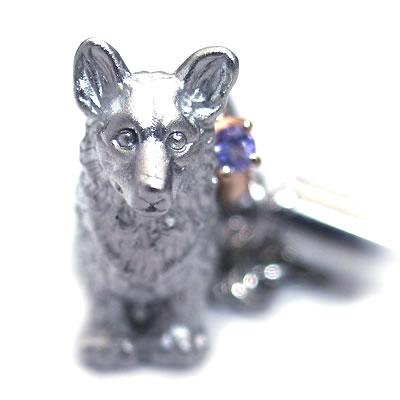 タンザナイト ( 12月誕生石 ) シルバー K10タンザナイト入り携帯ストラップ(ウェルシュ・コーギー) 犬 末広 スーパーSALE