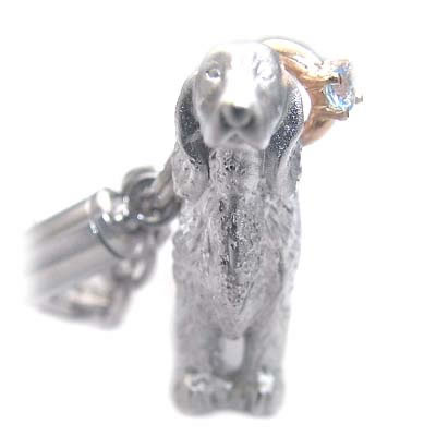 アクアマリン ( 3月誕生石 ) シルバー K10アクアマリン入り携帯ストラップ(アイリッシュ・セッター) 犬 末広 スーパーSALE