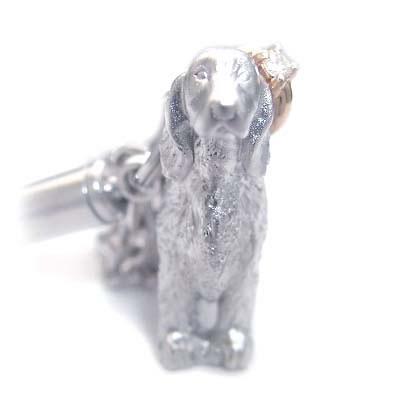( 4月誕生石 ) シルバー K10ダイヤモンド入り携帯ストラップ(アイリッシュ・セッター) 犬 末広 スーパーSALE