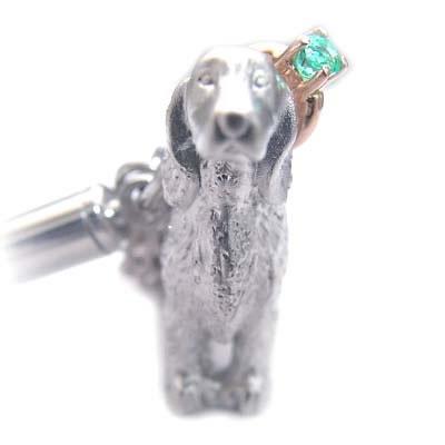 エメラルド ( 5月誕生石 ) シルバー K10エメラルド入り携帯ストラップ(アイリッシュ・セッター) 犬 末広 スーパーSALE
