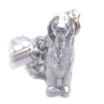 ムーンストーン ( 6月誕生石 ) シルバー K10ムーンストーン入り携帯ストラップ(アイリッシュ・セッター) 犬