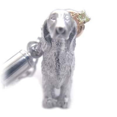 ペリドット ( 8月誕生石 ) シルバー K10ペリドット入り携帯ストラップ(アイリッシュ・セッター) 犬 末広 スーパーSALE【今だけ代引手数料無料】
