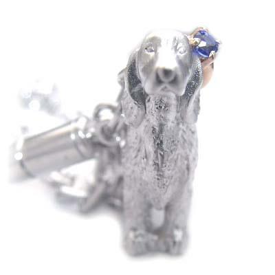 サファイア ( 9月誕生石 ) シルバー K10サファイア入り携帯ストラップ(アイリッシュ・セッター) 犬 末広 スーパーSALE