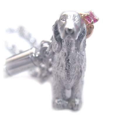 ピンクトルマリン ( 10月誕生石 ) シルバー K10ピンクトルマリン入り携帯ストラップ(アイリッシュ・セッター) 犬 末広 スーパーSALE