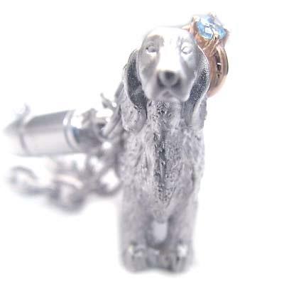 ブルートパーズ ( 11月誕生石 ) シルバー K10ブルートパーズ入り携帯ストラップ(アイリッシュ・セッター) 犬